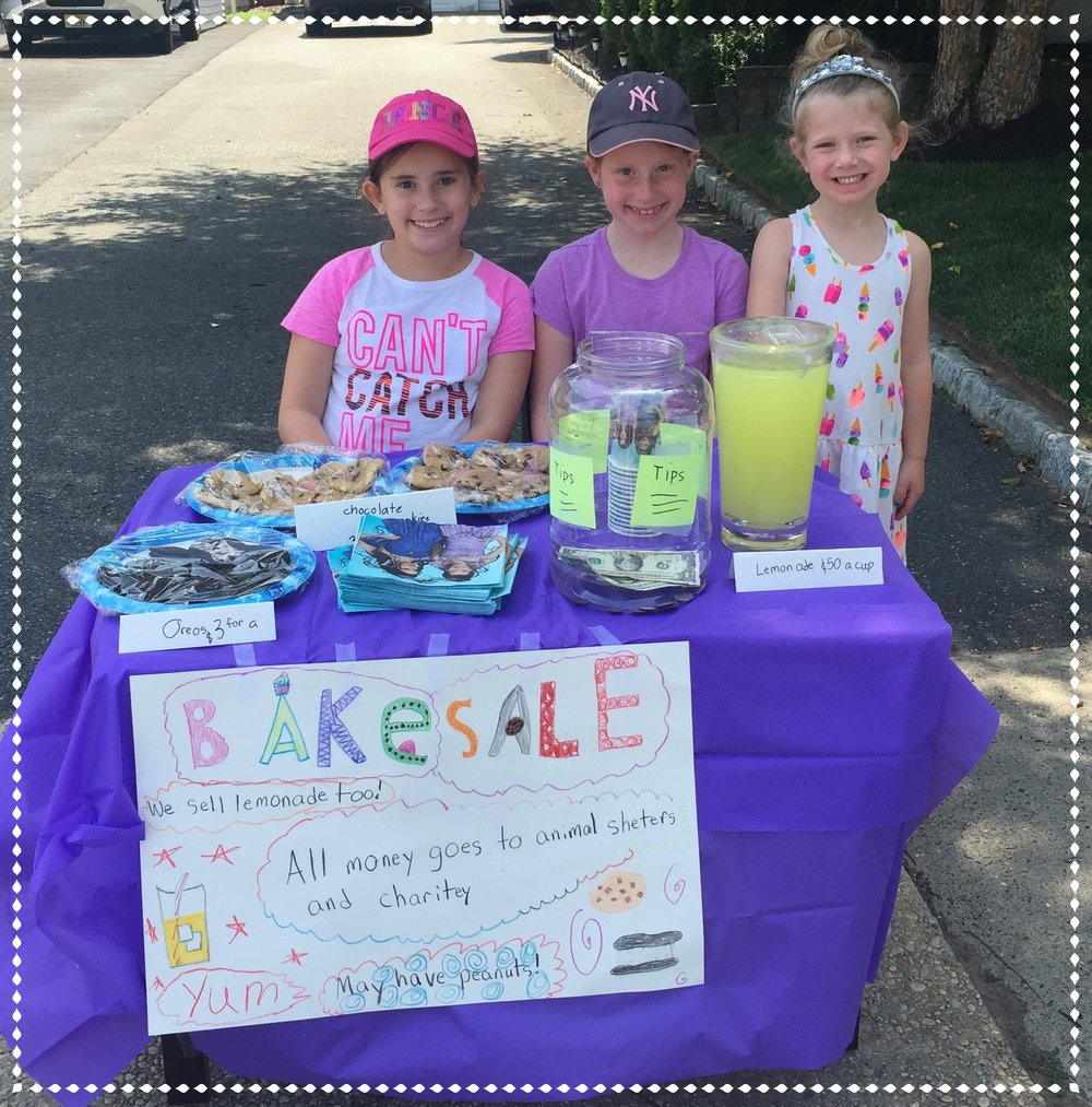 OUR YOUNGEST FUNDRAISERS    Andy Blumenstock who is the Treasurer of the Board of Directors of LSNC sent us this picture of his daughters and their friend conducting a fundraiser for LSNC and an animal shelter.