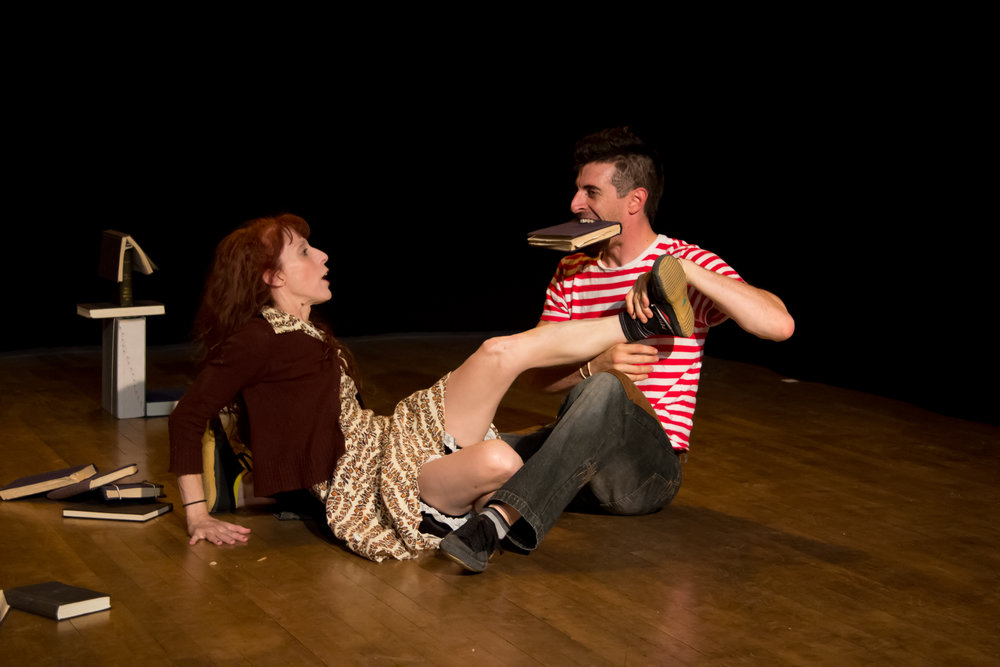 JENNY MCALLISTER AS OTTER AND ZACH FISCHER AS TIGER IN TIGER AND OTTER / PHOTO BY BOB EPSTEIN