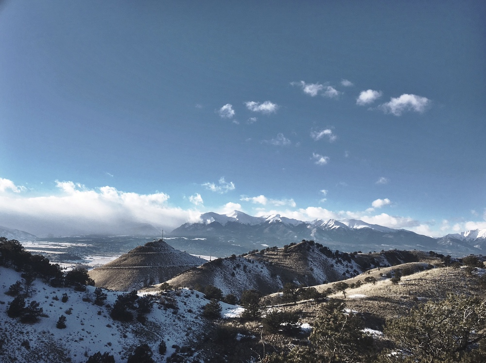 Looking out over the valley during a fat bike ride with local shop, Absolute Bikes. You can see the cone and sipral drive of S Mountain as well as the 14ers of Sawatch Range.
