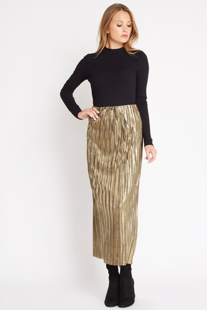 Gold Rush Metallic Maxi Skirt