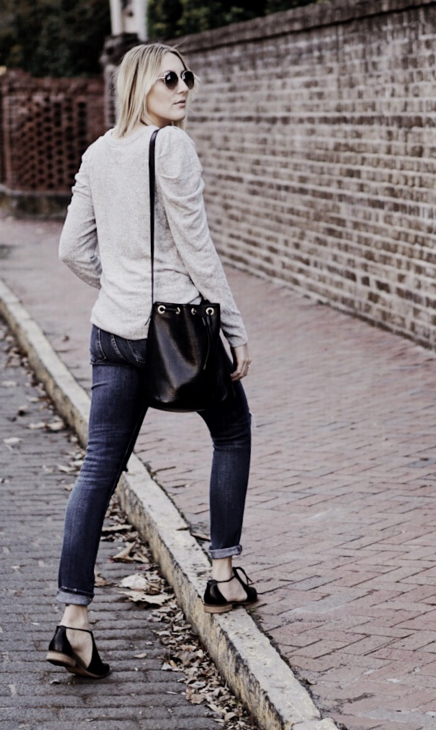 Classic Gray Ruffle Sleeve Top