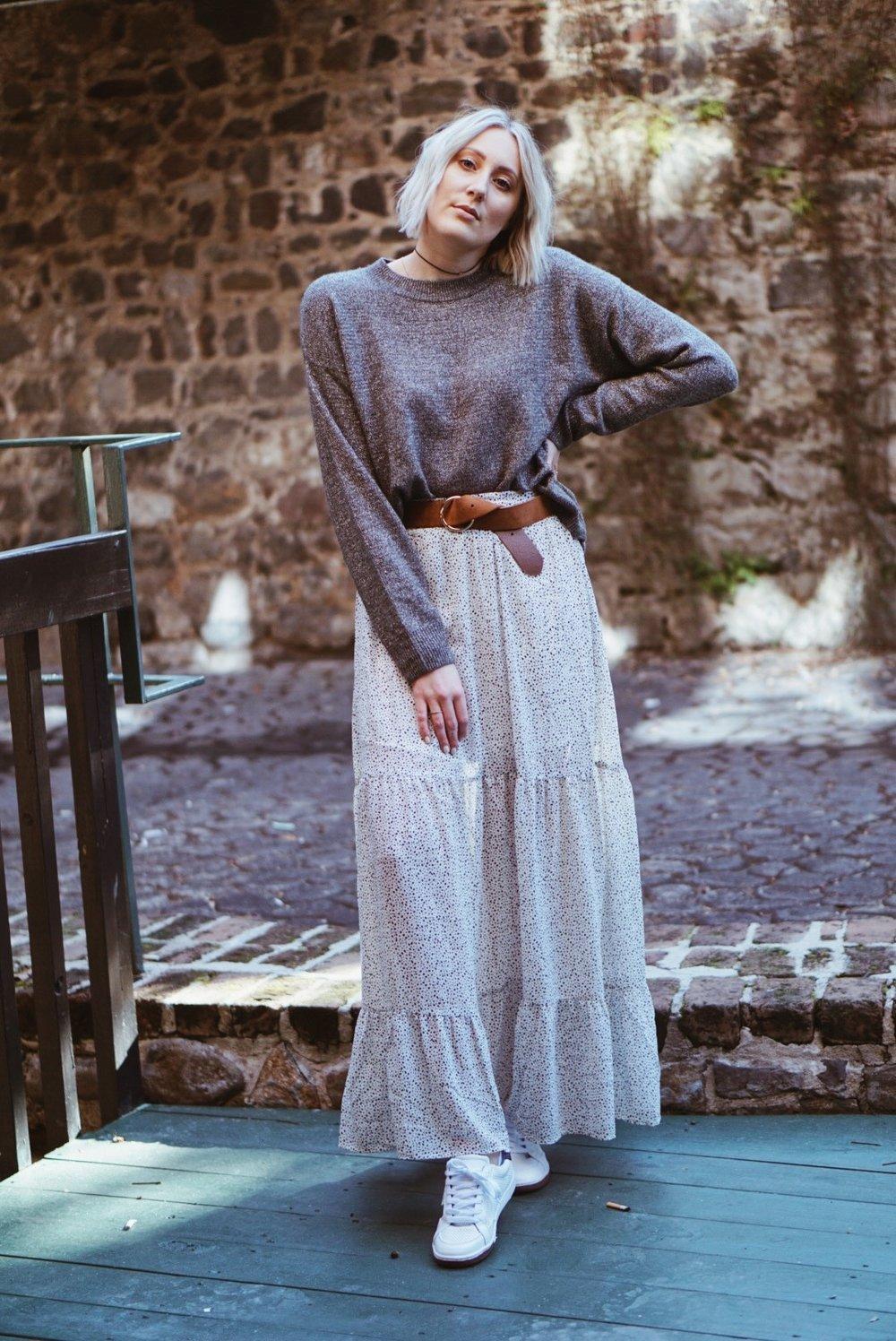 Polka Dot Maxi Skirt Outfit