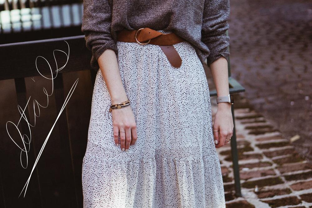 white polka dot maxi skirt outfit
