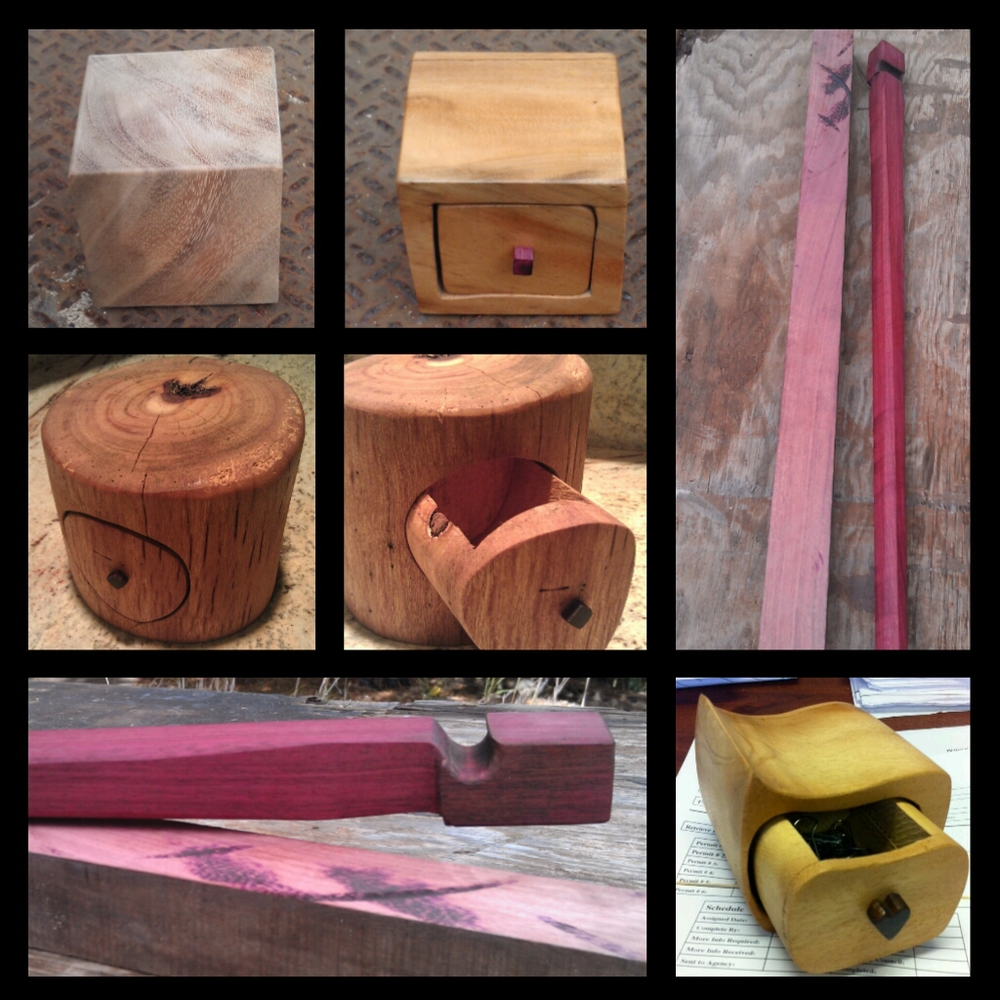 Some woodwork. Bandsaw boxes. Walking sticks.