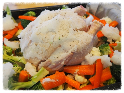 Before this bird entered the oven. Notice the thick layer of coconut oil and chunks over veggies. Yum!