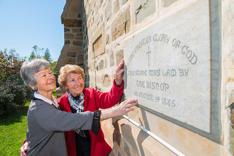 Rosemary Fazzalari and Jean Clingly. Their great grandparents, Edward and Margaret Beck, were part of the original congregation that laid the stone in 1885