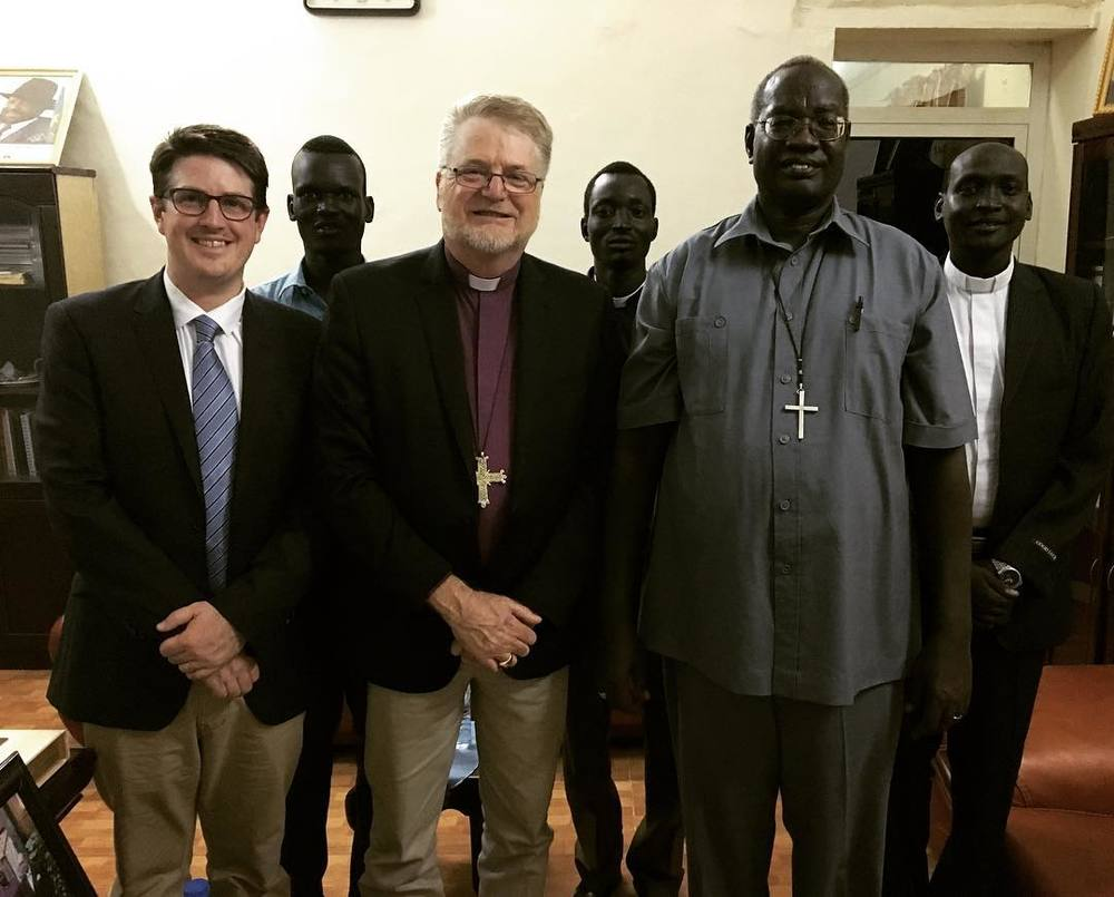 Archbishop Jeffrey Driver and Deputy Registrar, Daniel Harris meet with Archbishop Daniel Deng of the Episcopal Church of South Sudan and Sudan