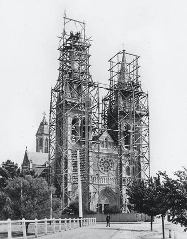 Scaffolding surrounds the Cathedral towers and spires following their completion in 1902