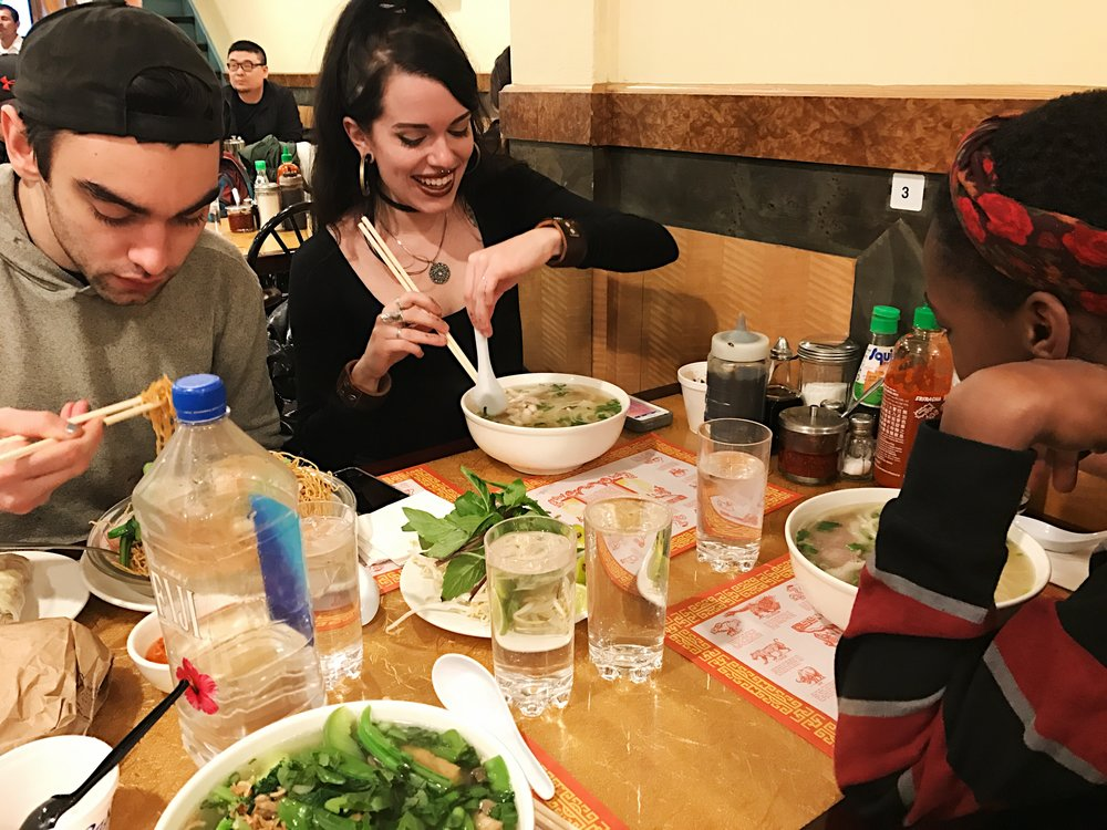 A dinner of pho with the squad