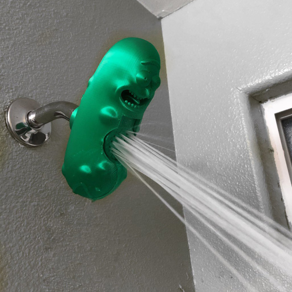 + Pickle Rick shower head - This is incredibly creepy, so I recommend you only buy this if a) you can stand to see it everyday in your shower or b) you have more than one shower in your home. Nonetheless, I can guarantee you a diehard Rick and Morty fan will get a kick out of Pickle Rick shower head.(Image via 3Dvisualsanddesignco on Etsy)