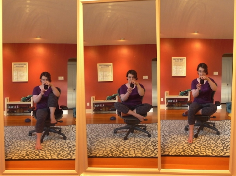 "A few ways I like to sit when I'm in a chair. FYI, that poster in the background is titled ""Think Outside the Chair""!"