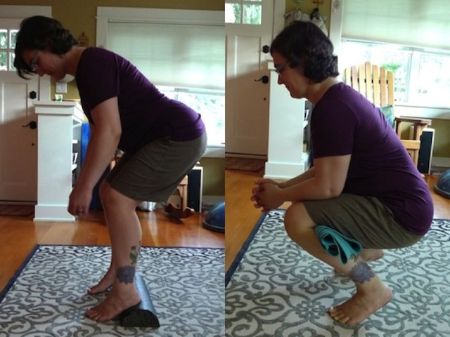 Left: Heels elevated to help compensate for tight posterior leg muscles. I only lowered down as far as I could while keeping my knees (mostly) over my ankles and maintaining a neutral lumbar curve. Right: A rolled up yoga mat behind the knees can help take some pressure off the knee joints.