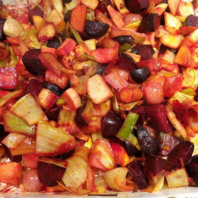 I've been lazy about cooking lately and the root veggies from the CSA were starting to overflow out of the fridge, so I tossed them all together and roasted them. Easy and delicious! #beautifulfood #eatlocal