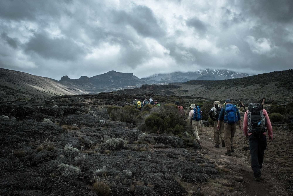 The lava spire on the far left of the horizon was the peak of our acclimatization climb for the day.
