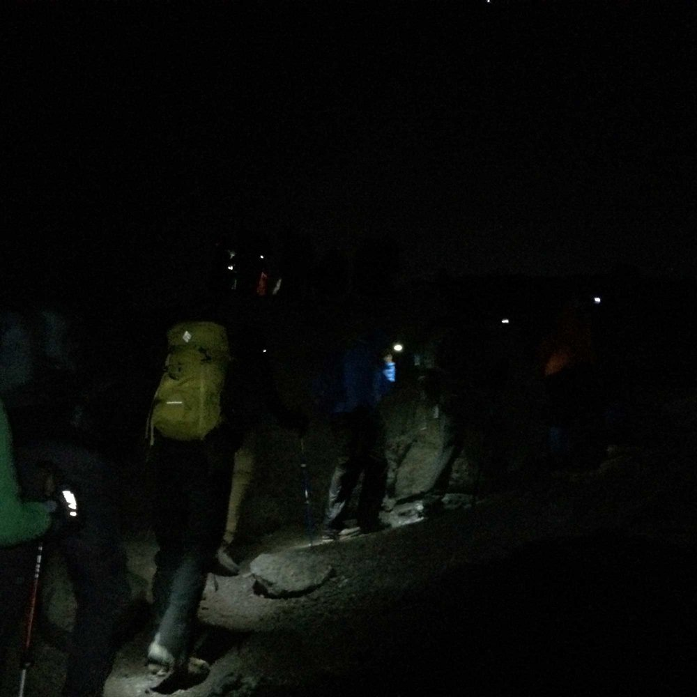 Kilimanjaro climbers beginning summit push at night
