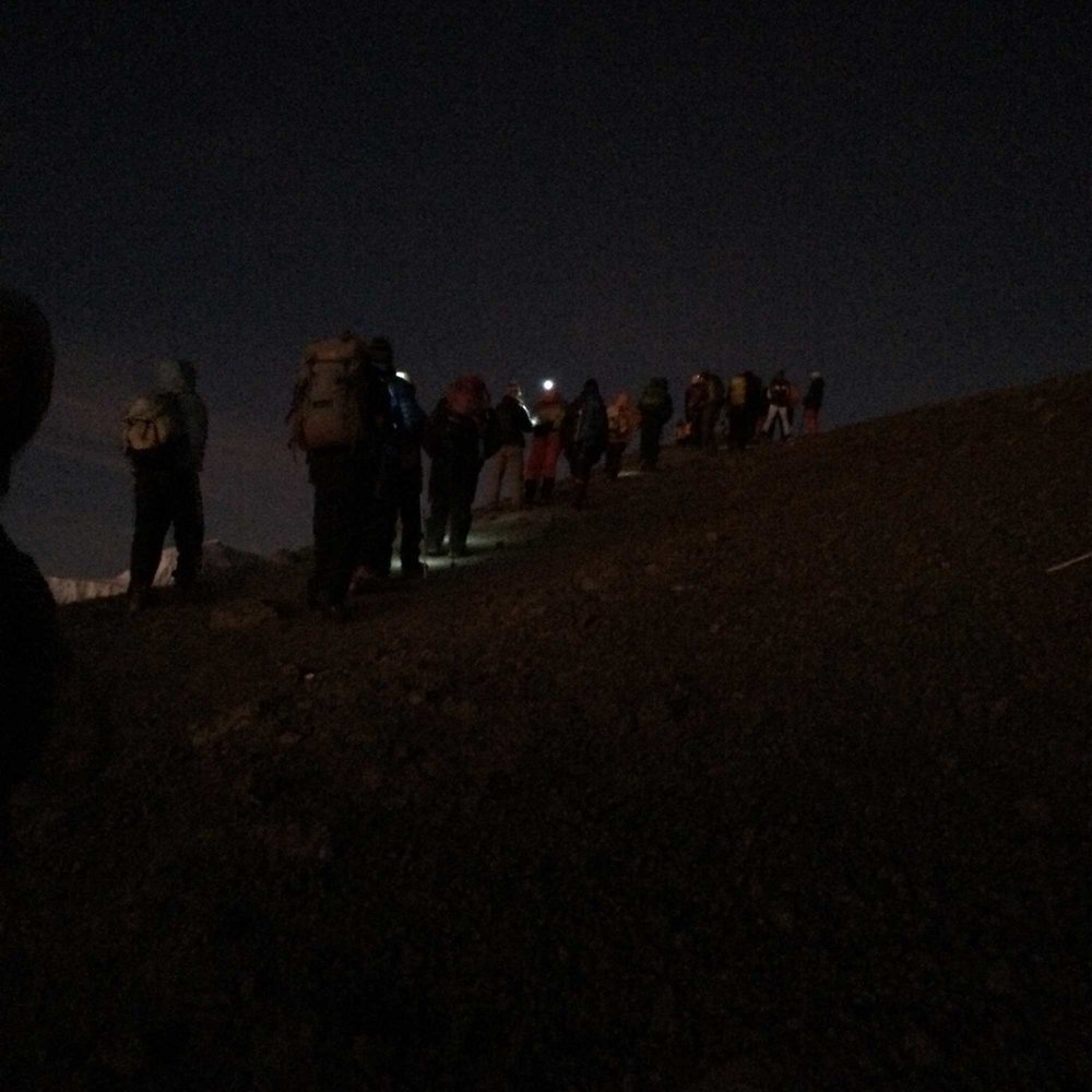 Kilimanjaro climbers making summit attempt in dark.
