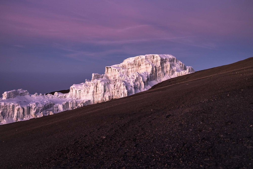 Glacier near the summit of Kilimanjaro bathed in pink and blue light as the sun rises. Photo credit @megawong