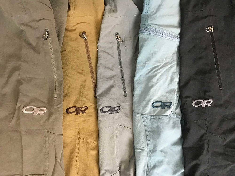 Ferrosi Pants come in several colors. Mushroom, Coyote, Pewter, Shade, and Black are shown here.