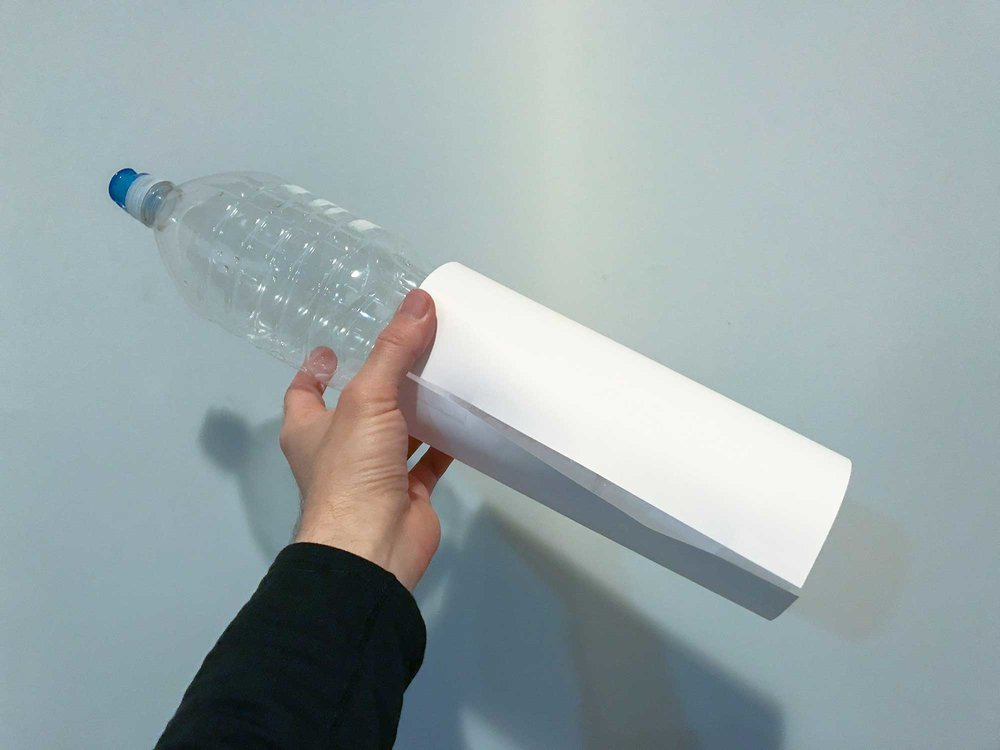 Make a template of the diameter of your inner bottle using paper and tape.
