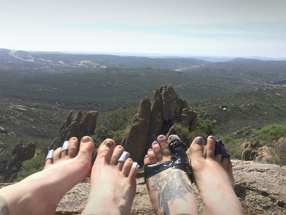 Sometimes you have to improvise. Thru hikers caught by blisters early in their hike often wrap up with duct tape. Photo by: Sarah Komisar