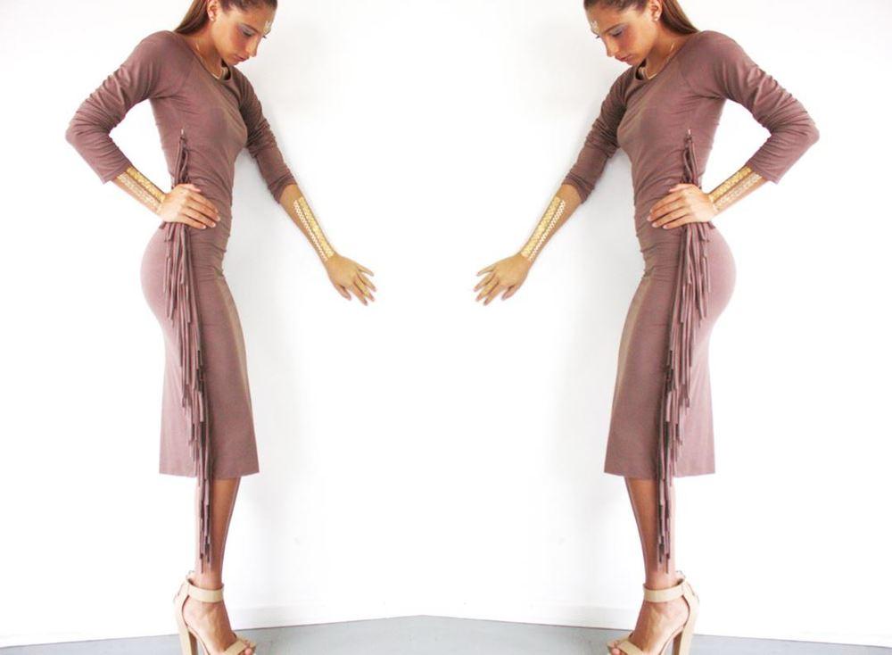 DINJUAN STALLION DRESS Hand Made Fringe Ltd Ed. SAND, METALLIC & JADE