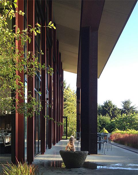 "Testing the birdbath water levels at ""Studio House"" - by Tom Kundig | Olson Kundig Architects"