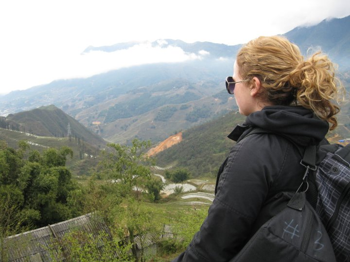 Kyla taking in the view of the Muong Hoa valley