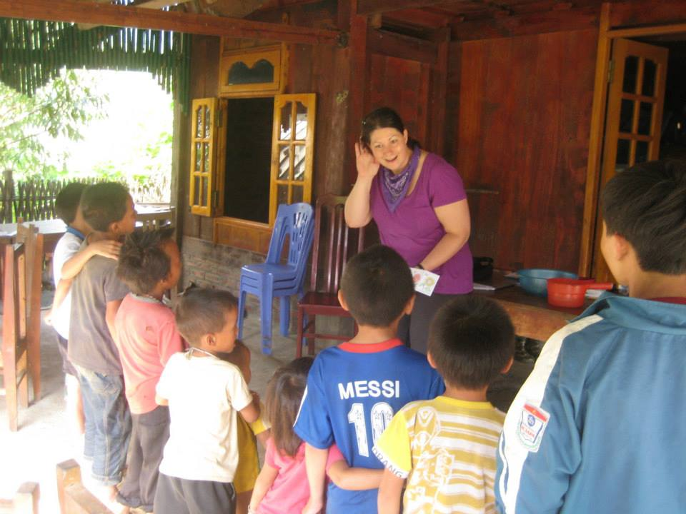 Kristine leading an environmental English lesson in Lao Chai
