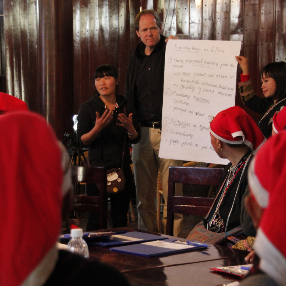 Chris with Lo May facilitating a workshop in Sapa