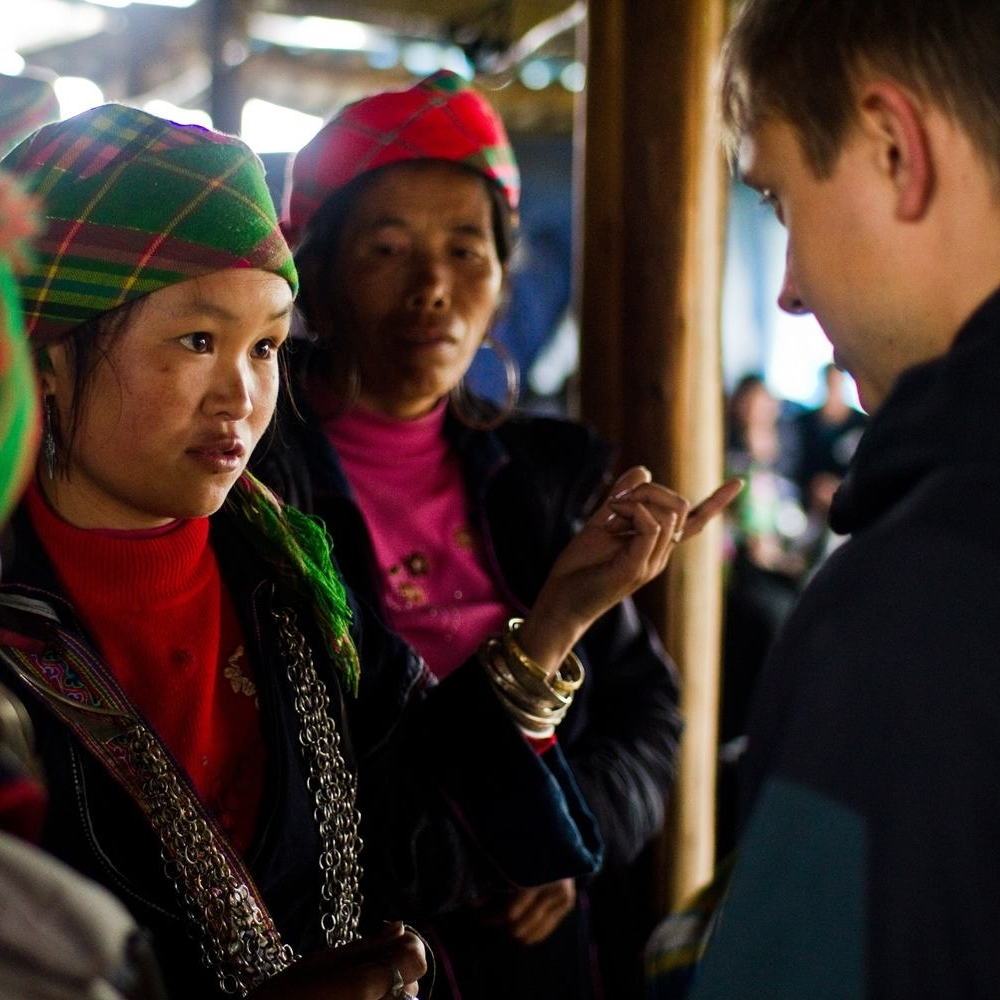 Chris in Lao Chai speaking with Khu