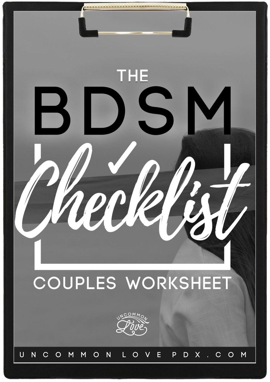 BDSM Checklist | Sex-Positive Worksheet | BDSM Worksheet | Sex Play Guide