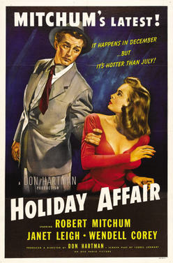 "For the second installment of our Classic Holiday Movies week, we watched ""Holiday Affair"" (1949). It's a classic love triangle story, starring Robert Mitchum and Janet Leigh (she's SO pretty). Throw in a cute kid, lots of snow, and a happy ending, and you've got yourself one undeniably cheery Christmas movie. The film was entertaining all around, and much shorter than the previous selection (about 90 minutes). I enjoyed some of the signature moves of Old Hollywood (two characters having complete understanding of each other about 5 minutes after meeting, the mouth kiss that looks like it would leave a bruise, and falling in love in about the span of a week)…they just don't make movies like that anymore…or do they?"