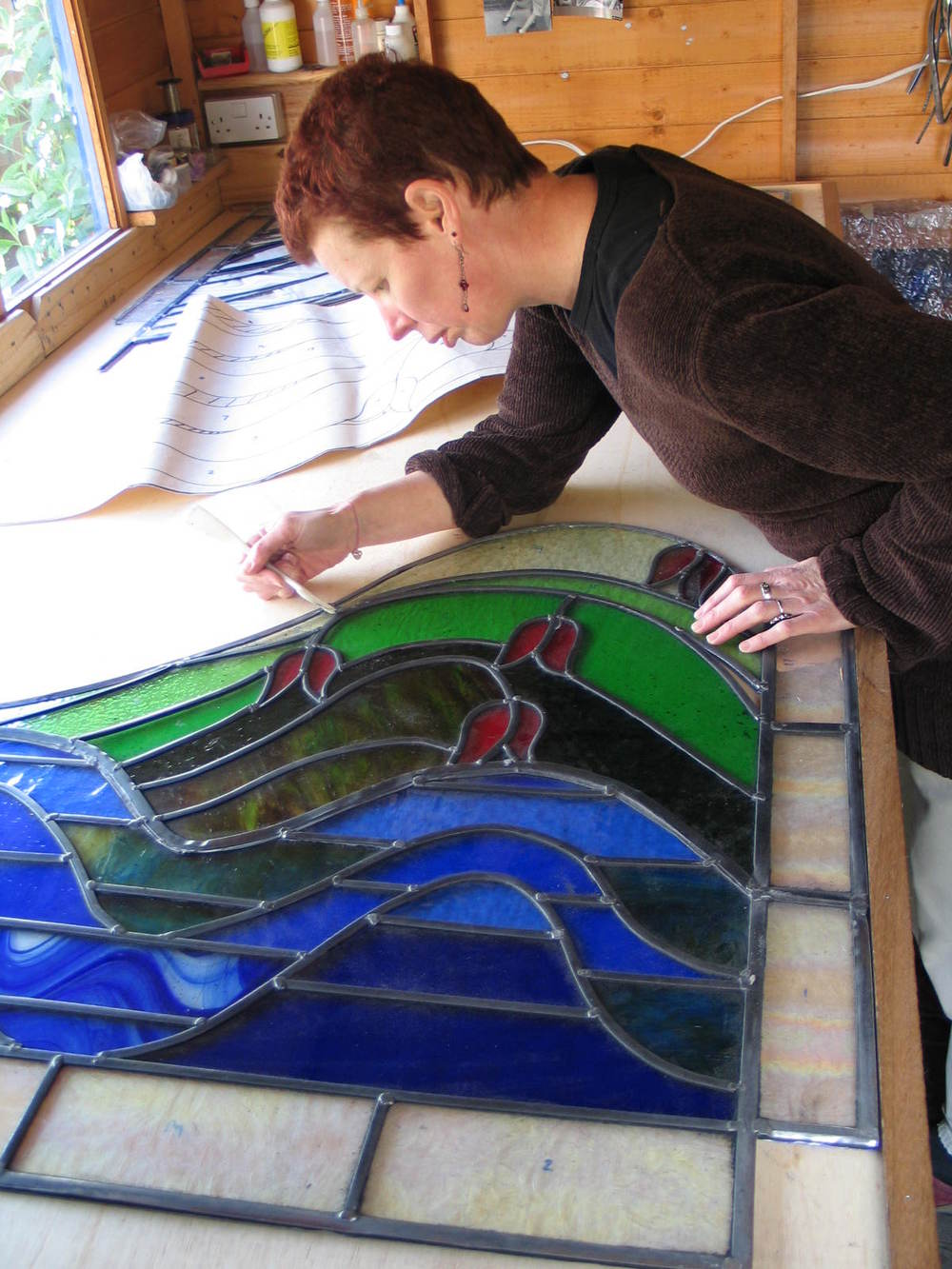helen grierson working on glass commission