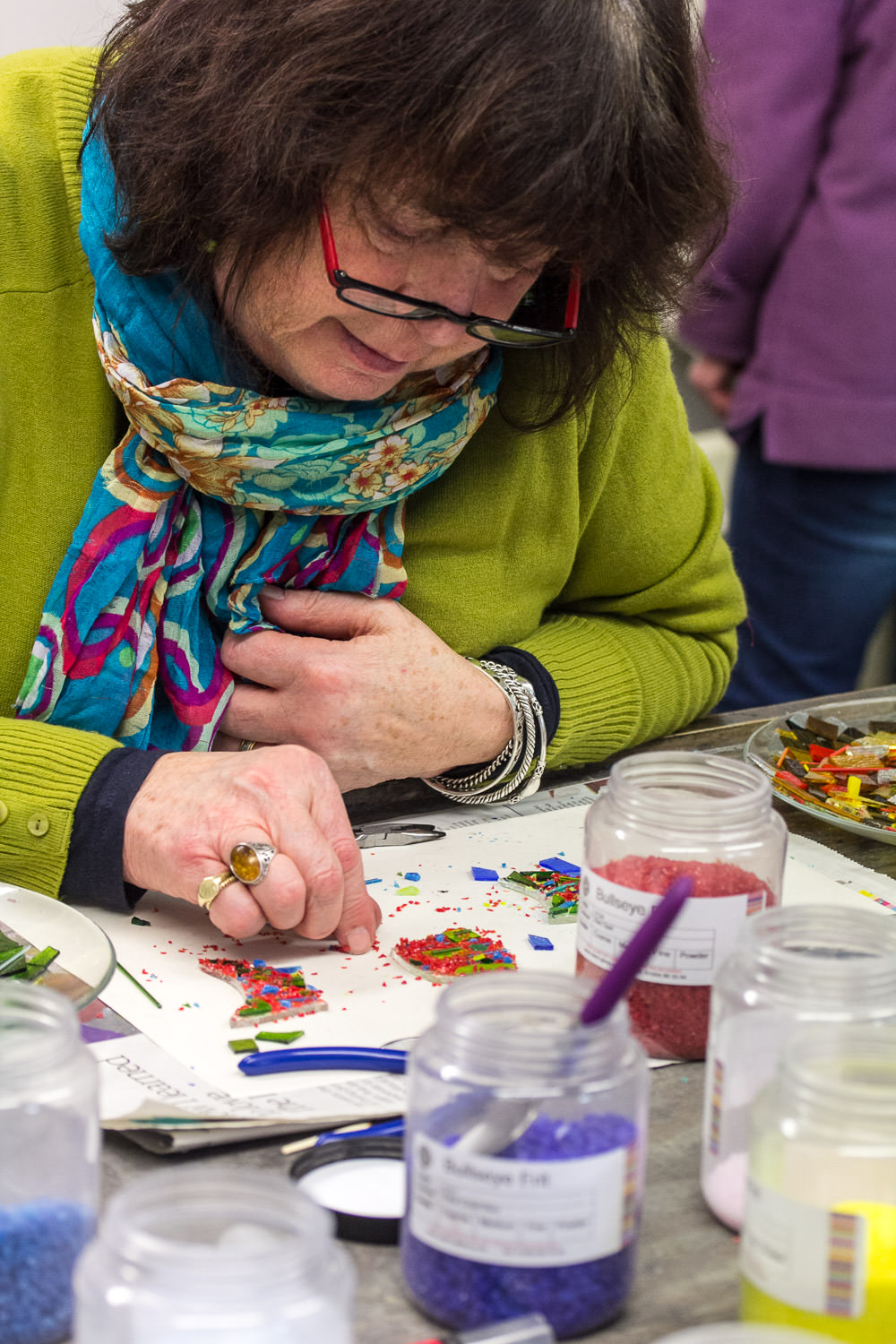Glass making at personalised Fused Glass workshop with Helen Grierson Glass Artist