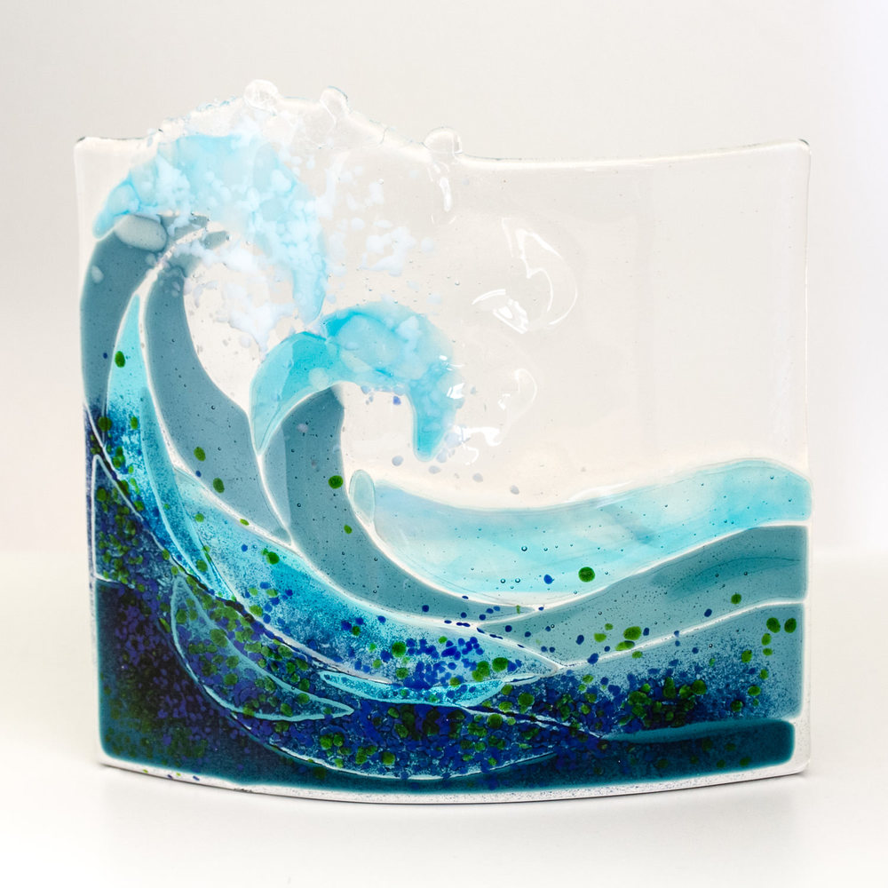 Beautiful Wave - Fused Glass Art by Helen Grierson