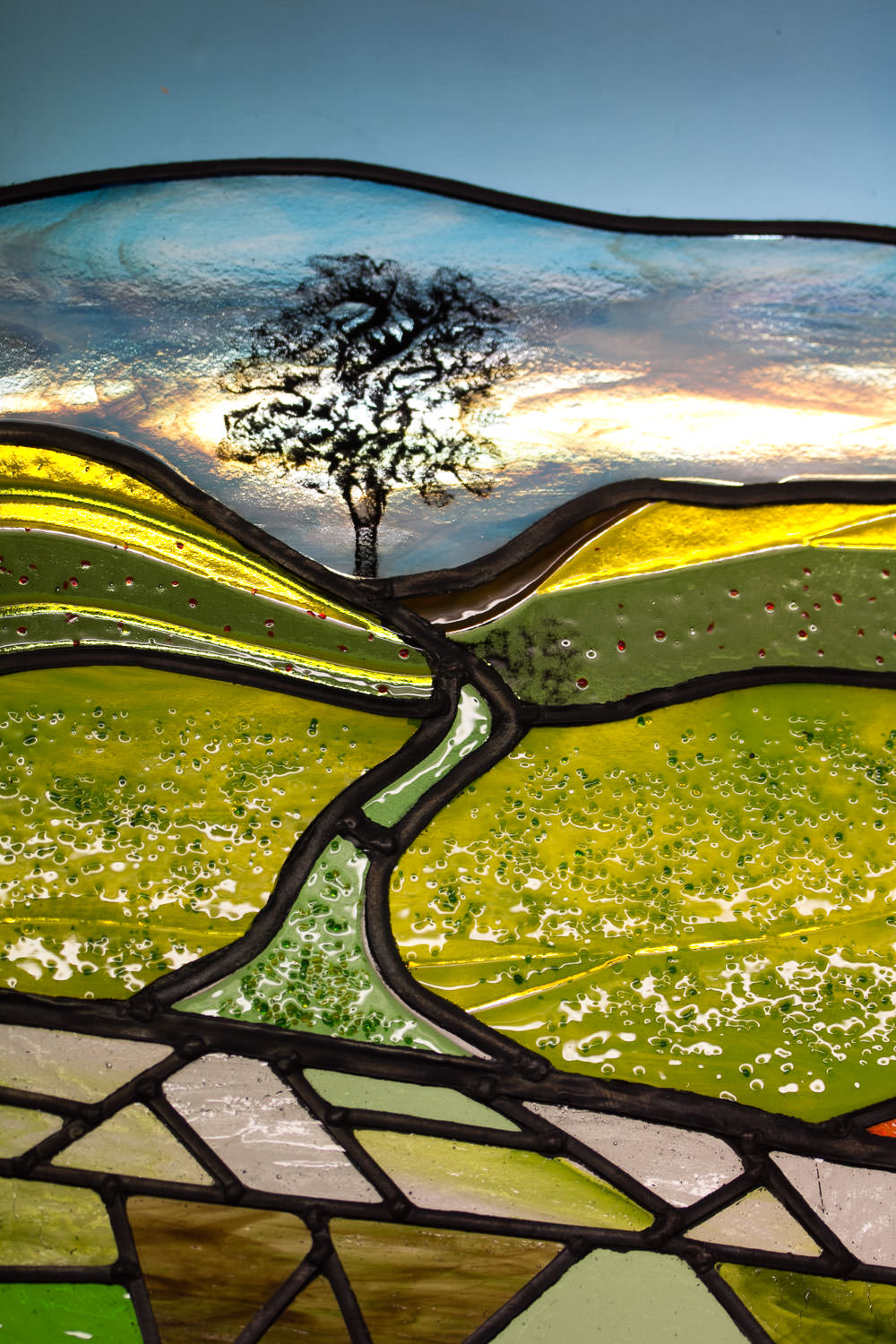 Beautiful Landscape Leaded Glass Art Commission by Helen Grierson