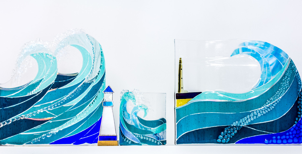 Fused Glass Wave Sculptures prices from £65 to £300