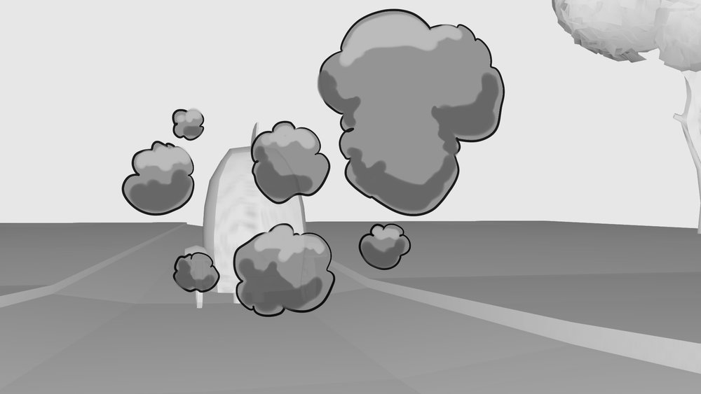 Cartoony smoke design for car exhaust explosions. Story sketch for 'Freewheeling', Dennis and Gnahser Unleased! Beano Studios