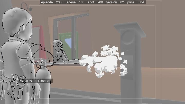 Fire extinguisher foam design. Story sketch for Bob the Builder