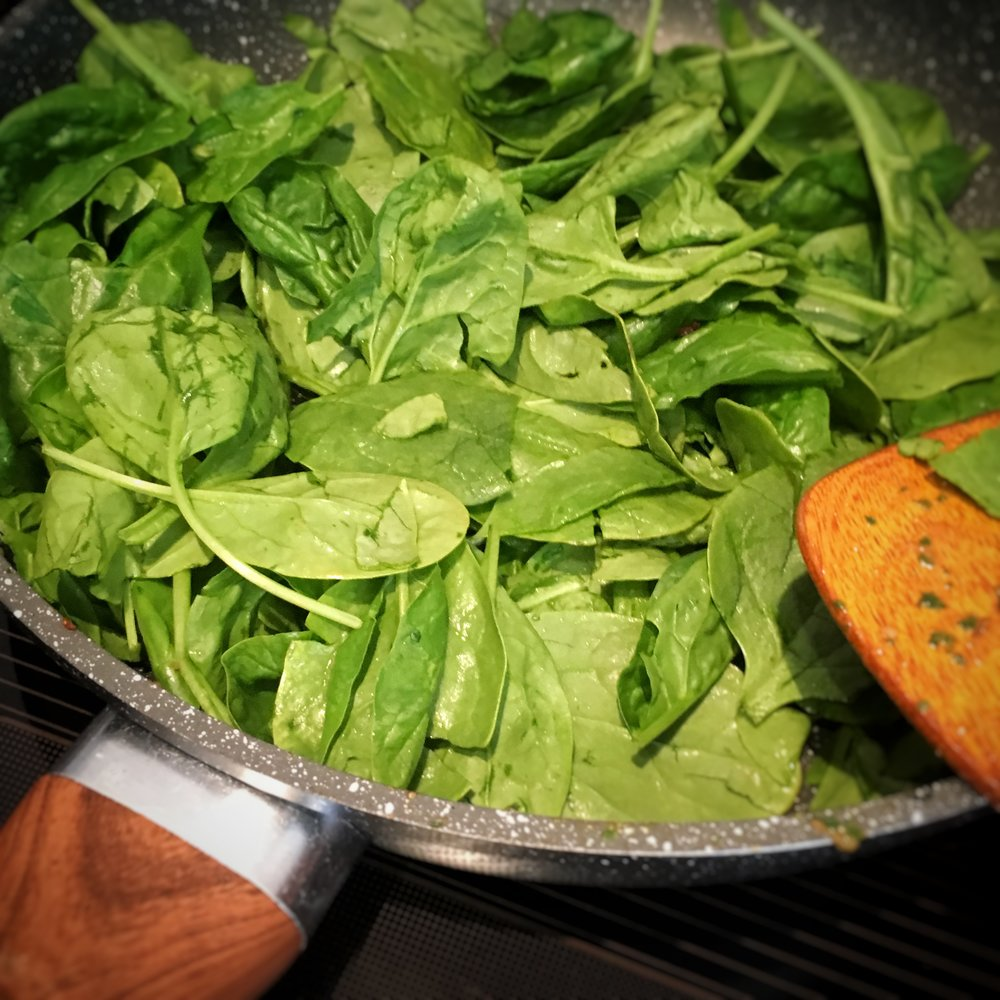 Fry - spinach and chillies in the same pan for about 2 minutes or until spinach is wilted...