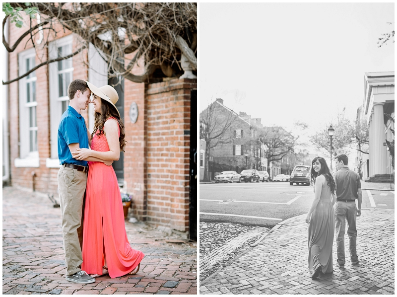 Old Town Alexandria | Spring engagement session with sunhat