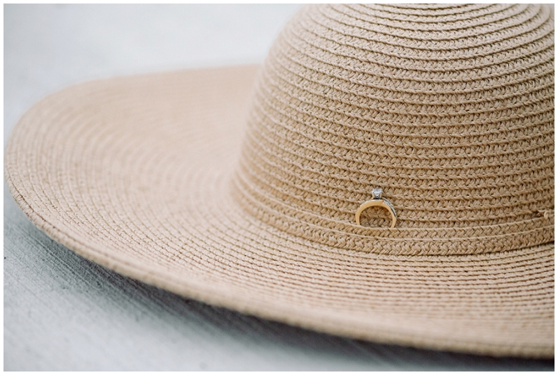 Ring on sunhat | unique engagement ring photo | ring shot