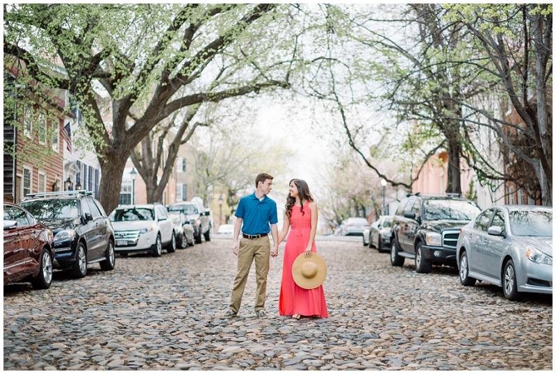 Old Town Alexandria | Spring engagements on cobblestone street