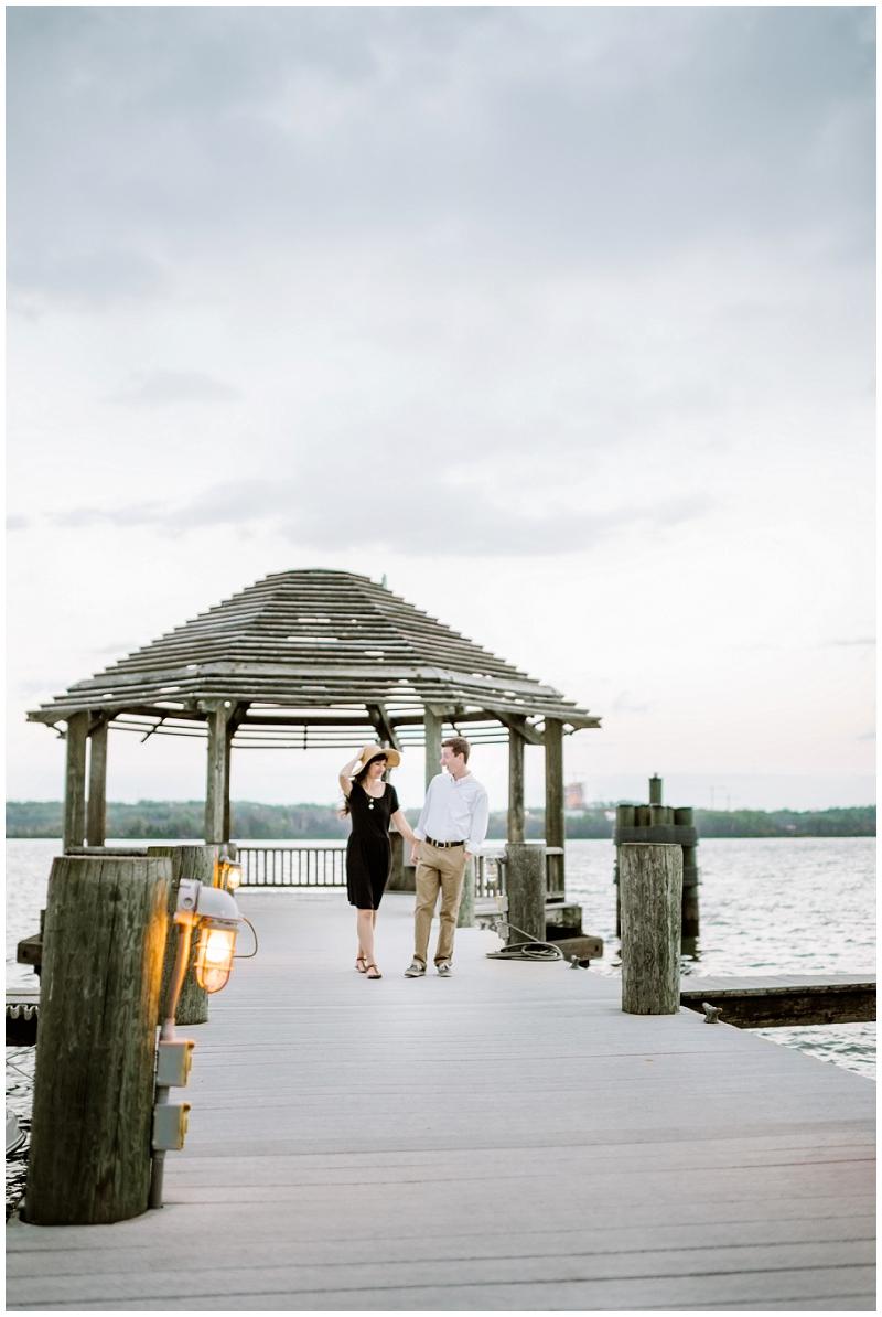Old Town Alexandria | Engagements on dock next to Potomac
