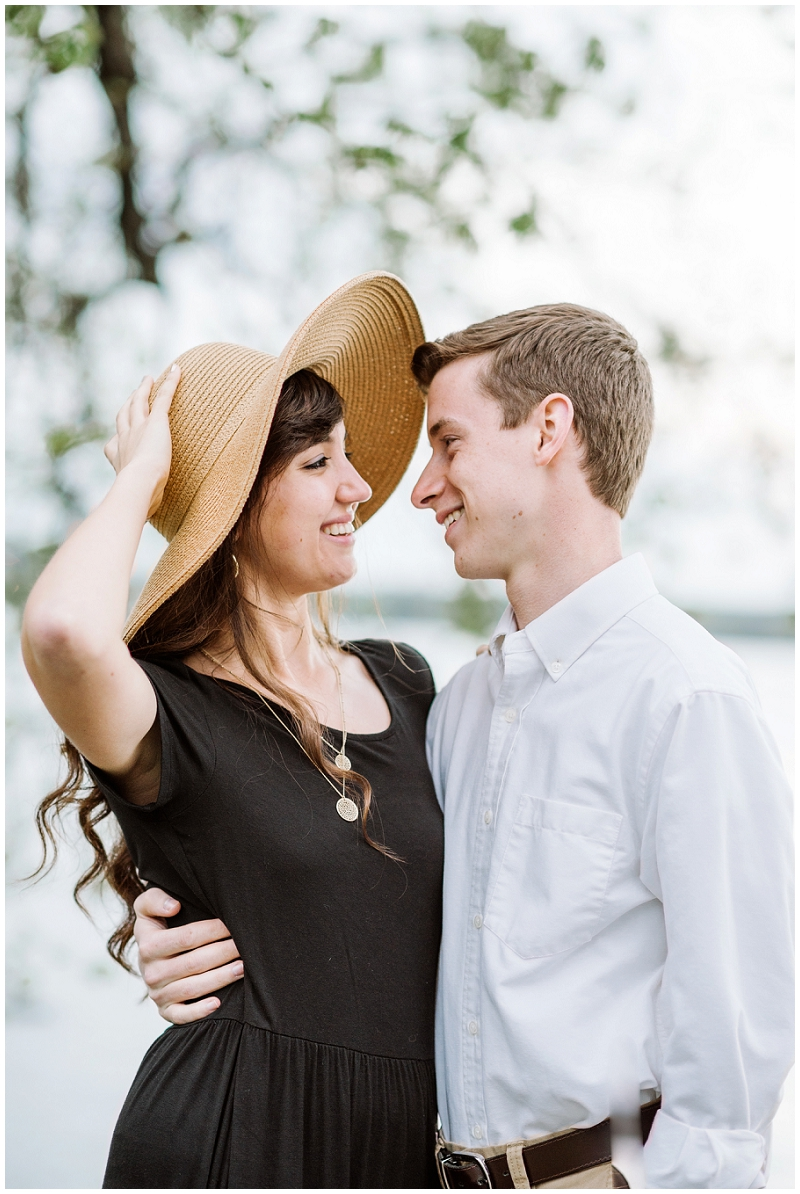 Old Town Alexandria | Engagements on rocks by the Potomac River | Cute sunhat