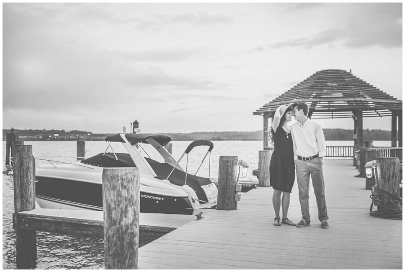 Old Town Alexandria | Engagements on docks by the Potomac River | Black & white engagement