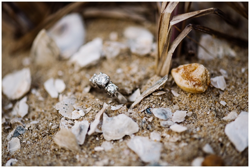 Engagment ring with sea shells |First Landing State Park | Virginia Beach
