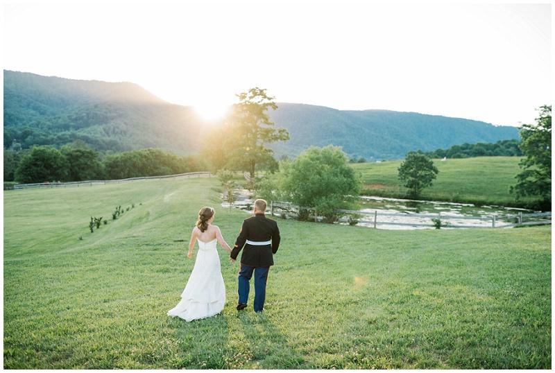 Bride and Groom Photo | Sunset Portrait | Blue Ridge Mountain Wedding