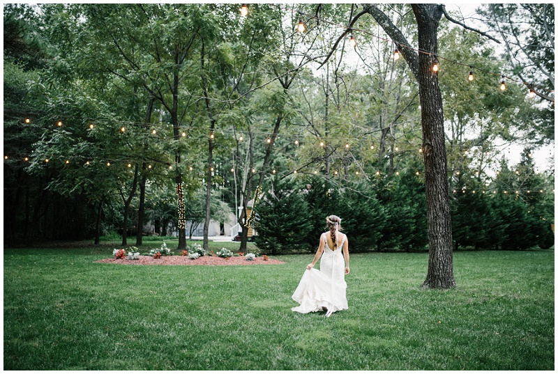 Whimsical Boho Chic Bridal Portraits | Outdoor Bridals with twinkle lights