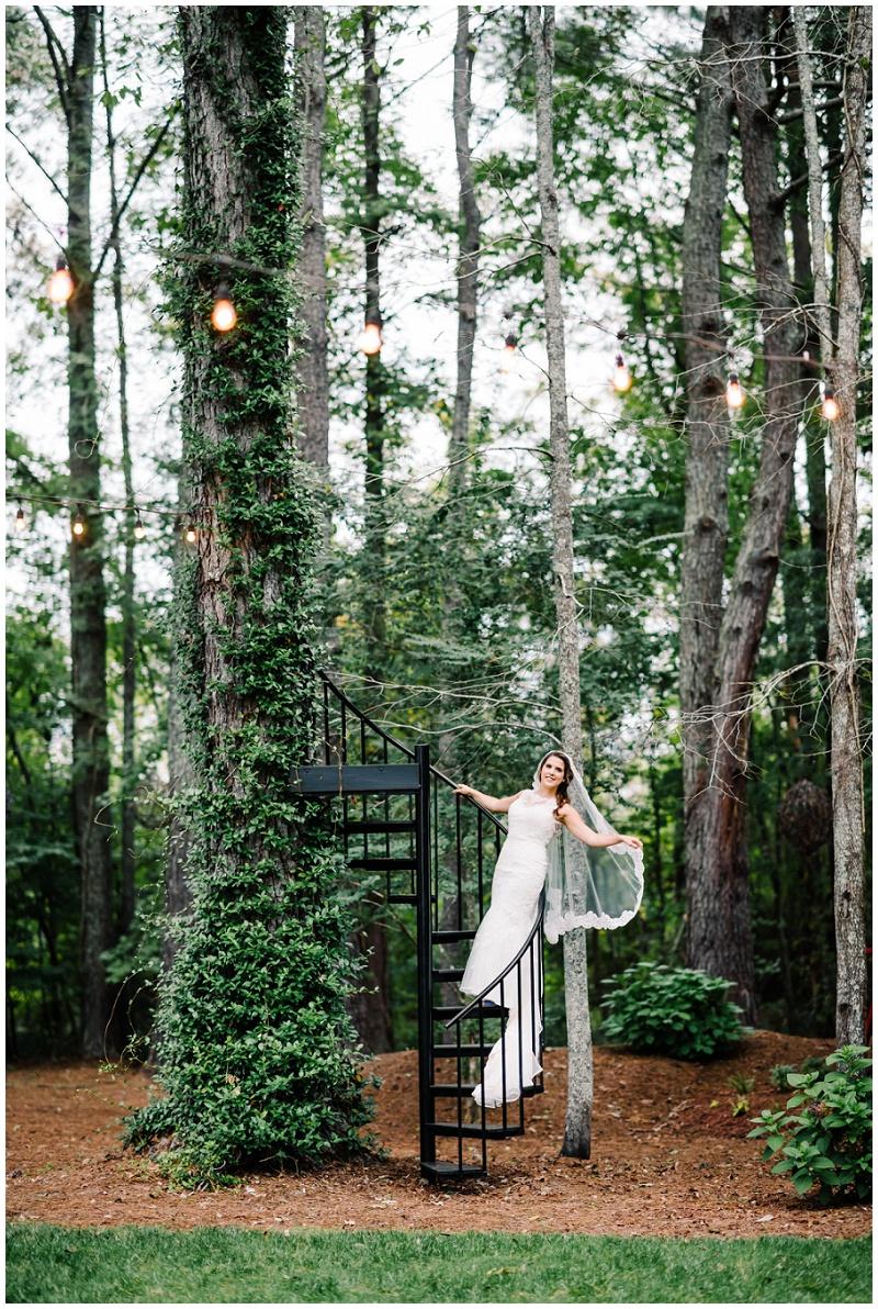 Whimsical Boho Chic Bridal Portraits | Iron Staircase